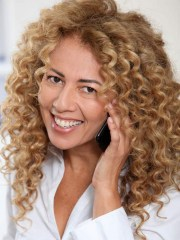 simple blonde synthetic curly hair