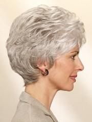 classic short wavy grey hair wigs