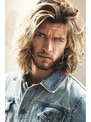 blonde men's wavy long hair wigs