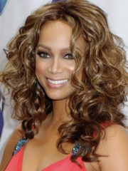 long brown curly synthetic hair