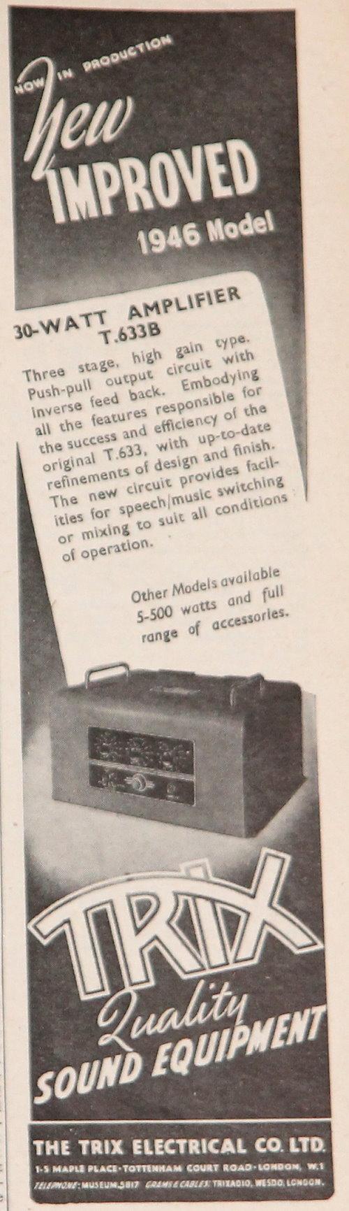 medium resolution of 1946 trix t 633b amplifier advert