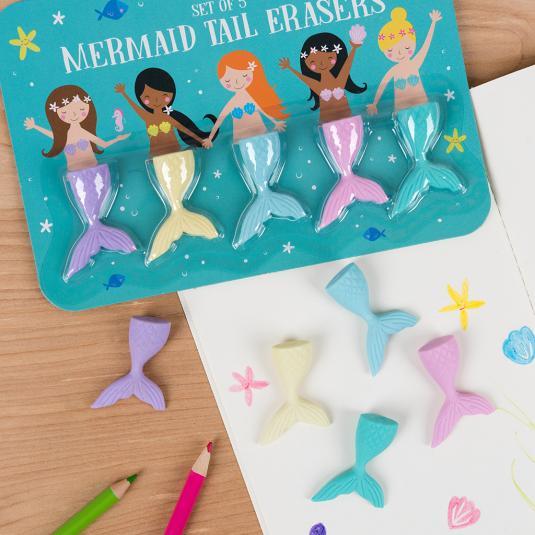 Mermaid Tail Erasers Set Of 5 Rex London Dotcomgiftshop