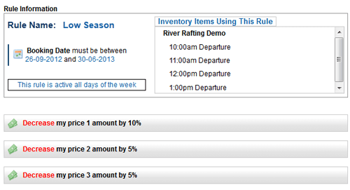 Example of pricing rule for low season bookings