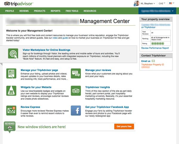 TripAdvisor Review Express Management Center