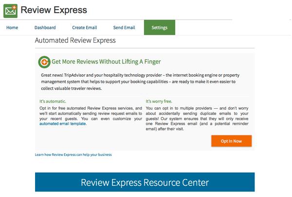 TripAdvisor Review Express Settings
