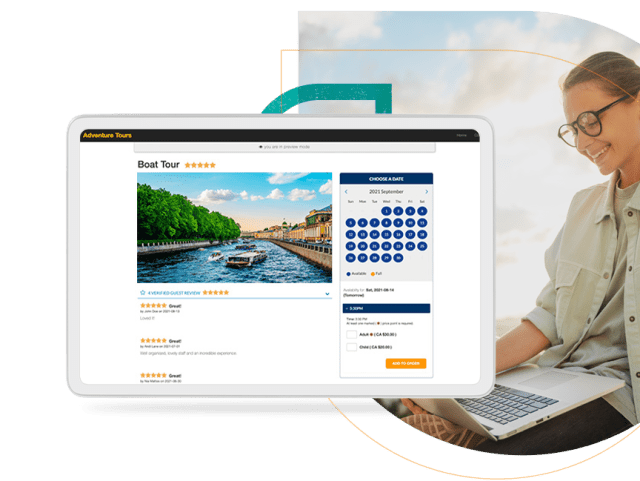 Rezgo online booking system screen