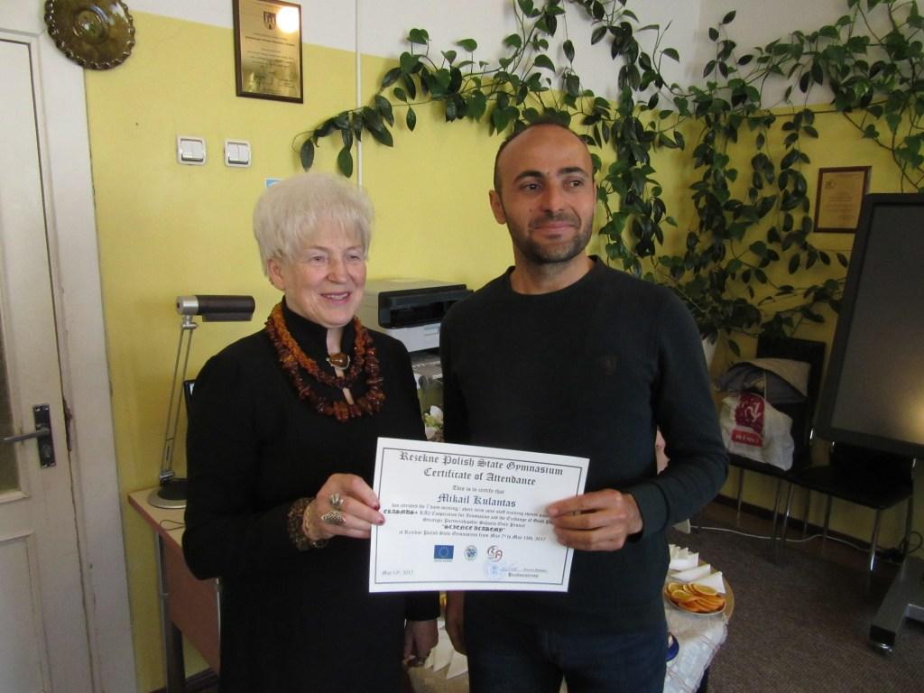 57. Presenting certificates
