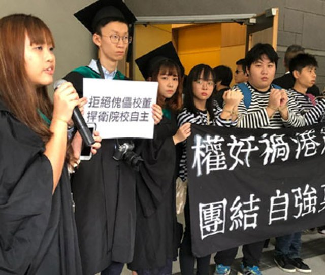 Graduating Students At Hong Kongs Lingnan University Protest Against Deteriorating Freedom Of Speech In The Former
