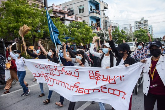 A group of protesters march in support of the National Unity Government's declaration of war on the junta in Mandalay, Sept. 7, 2021. RFA