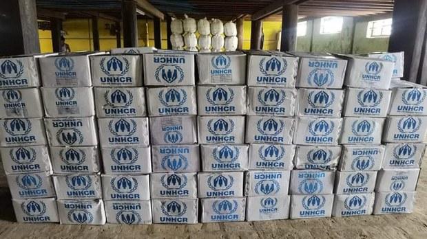 UNHCR relief supplies sit undistributed in Chin state's Mindat township, July 22, 2021. Citizen journalist