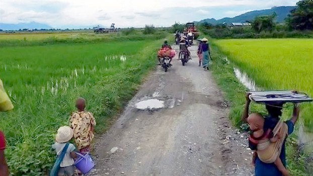 Residents flee fighting in Sagaing region's Kalay township, in an undated photo. Citizen journalist