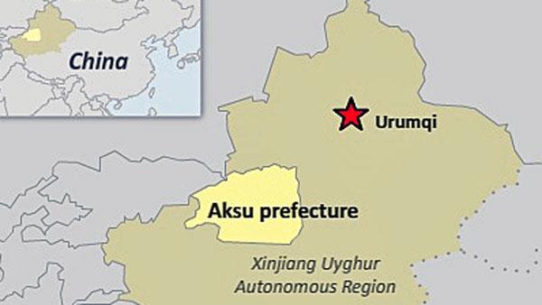 A map shows Aksu prefecture in northwest China's Xinjiang Uyghur Autonomous Region.