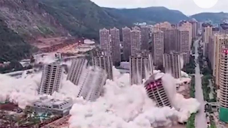 昆明大型建筑群被定向爆破 市內过百烂尾楼盘