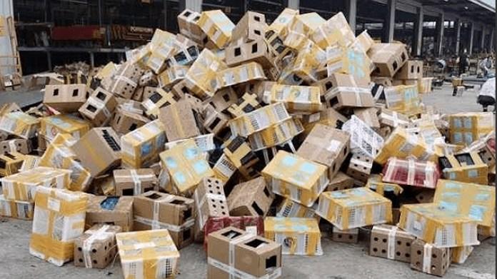 河南一處物流園區日前發生包裹運送寵物,造成上千隻動物死亡。 (翻攝自網絡)