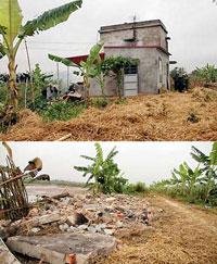 Căn nhà ông Vươn ở ngoài khu cưỡng chế vẫn bị ủi sập. Source phapluat.com