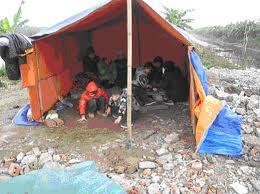 Hiện nay gia đình ông  Đoàn Văn Vươn phải dựng tạm căn lều để ở trên nền nhà cũ. Blog hxthu