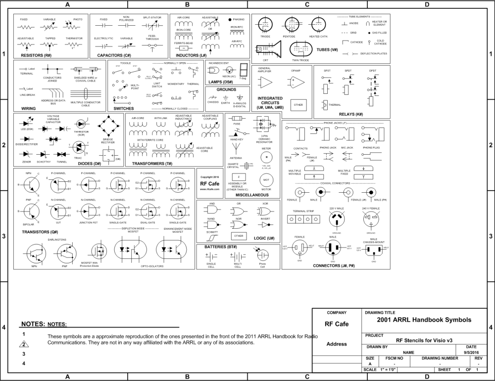 medium resolution of visio circuit schematic symbols from the 2011 arrl handbook rf cafe