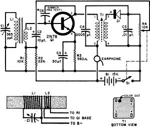 One Transistor Pocket Radio, July 1960 Popular Electronics