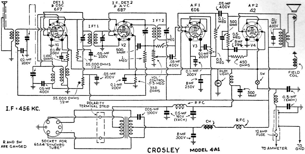 Crosley Roamio 4-A-1 Radio Schematic, June 1935 Radio