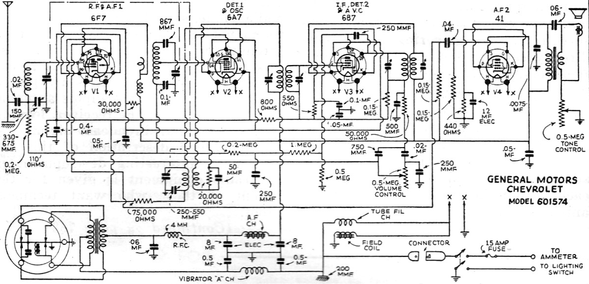 General Motors Chevrolet No. 601574 Radio Schematic, June