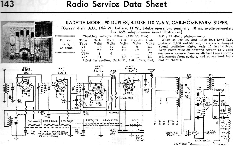 Kadette Model 90 Duplex 4 Tube 110 V 6 V Car Home Farm Super Radio Service Data Sheet
