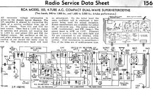 RCA Model 103, 4Tube AC pact DualWave Superheterodyne Radio Service Data Sheet, February