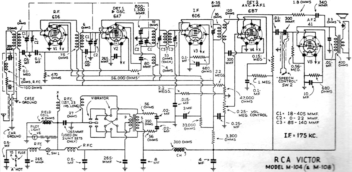 RCA Victor M-104 (and M-108) Radio Schematic, June 1935