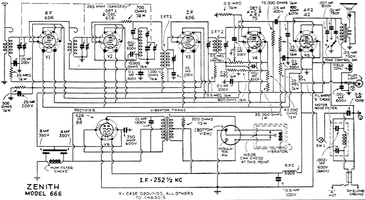 Zenith 666 Automotive Radio Schematic, June 1935 Radio