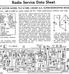 rca victor model t5 2 5 tube 2 band a c superheterodyne receiver radio service data sheet  [ 1500 x 1065 Pixel ]