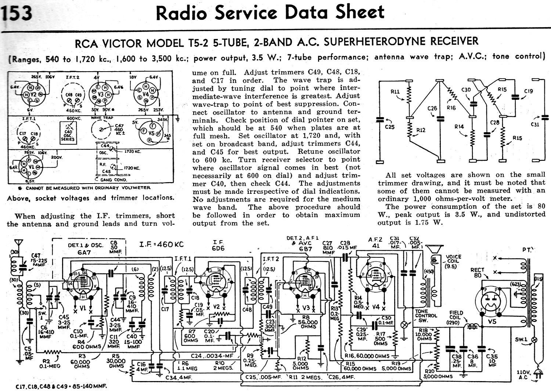hight resolution of rca victor model t5 2 5 tube 2 band a c superheterodyne receiver radio service data sheet