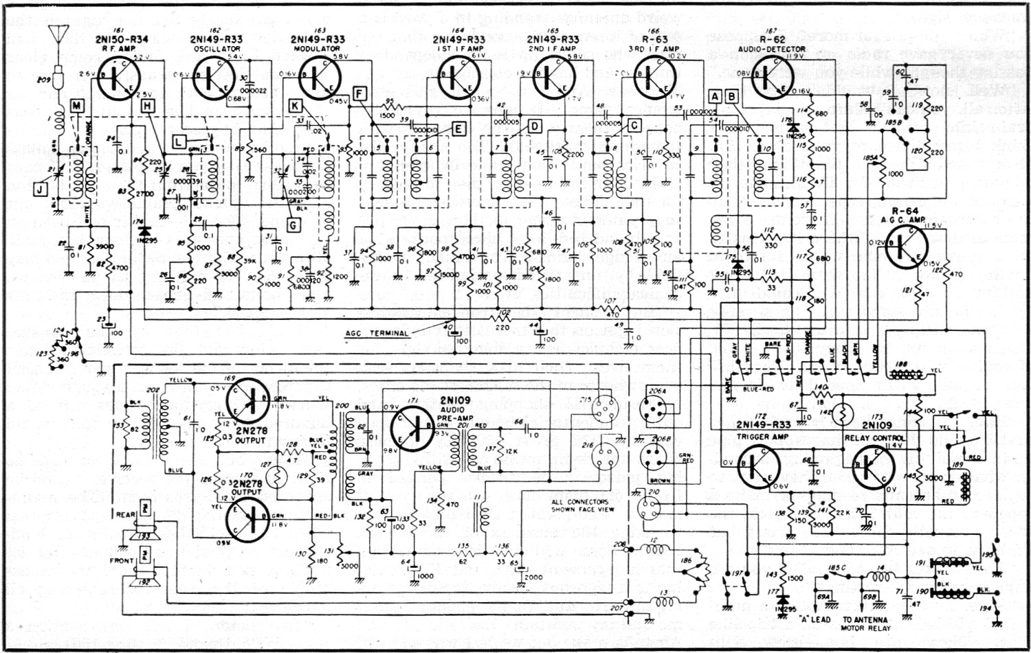 thermistor relay wiring diagram clam internal anatomy delco's all-transistor auto radio, august 1957 radio & tv news - rf cafe