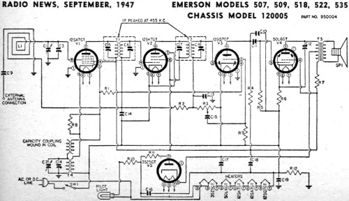 small resolution of emerson models 507 509 518 522 535 chassis model 120005 schematic