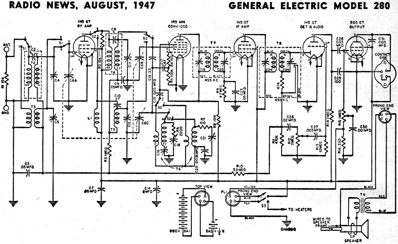General Electric Model 280 Schematic & Parts List, August