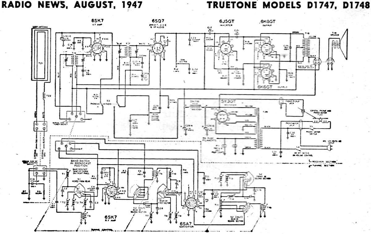TrueTone Models D1747, D1748 Schematic & Parts List