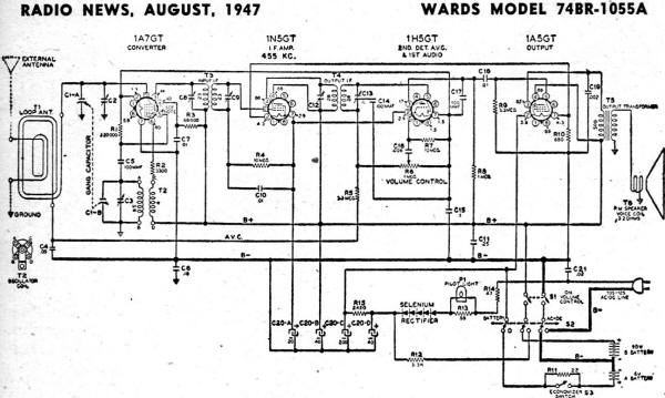 Wards Model 74BR-1055A Schematic & Parts List, August 1947