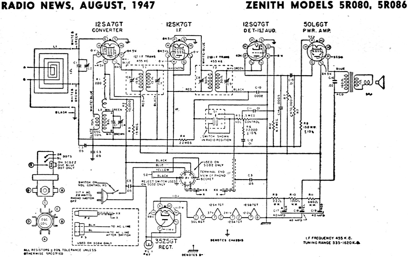 Zenith Models 5r080 5r086 Schematic Amp Parts List August