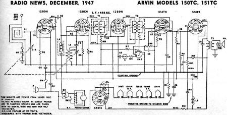 Arvin Models 150TC, 151TC Schematic & Parts List, December