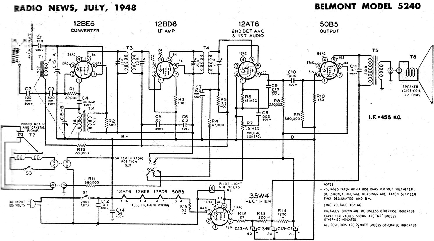 Belmont Model 5240 Schematic & Parts List, July 1948 Radio