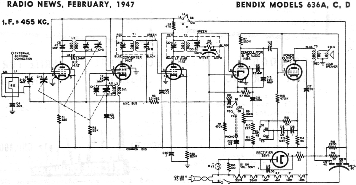 Bendix Models 636A, C, D Schematic & Parts List, February