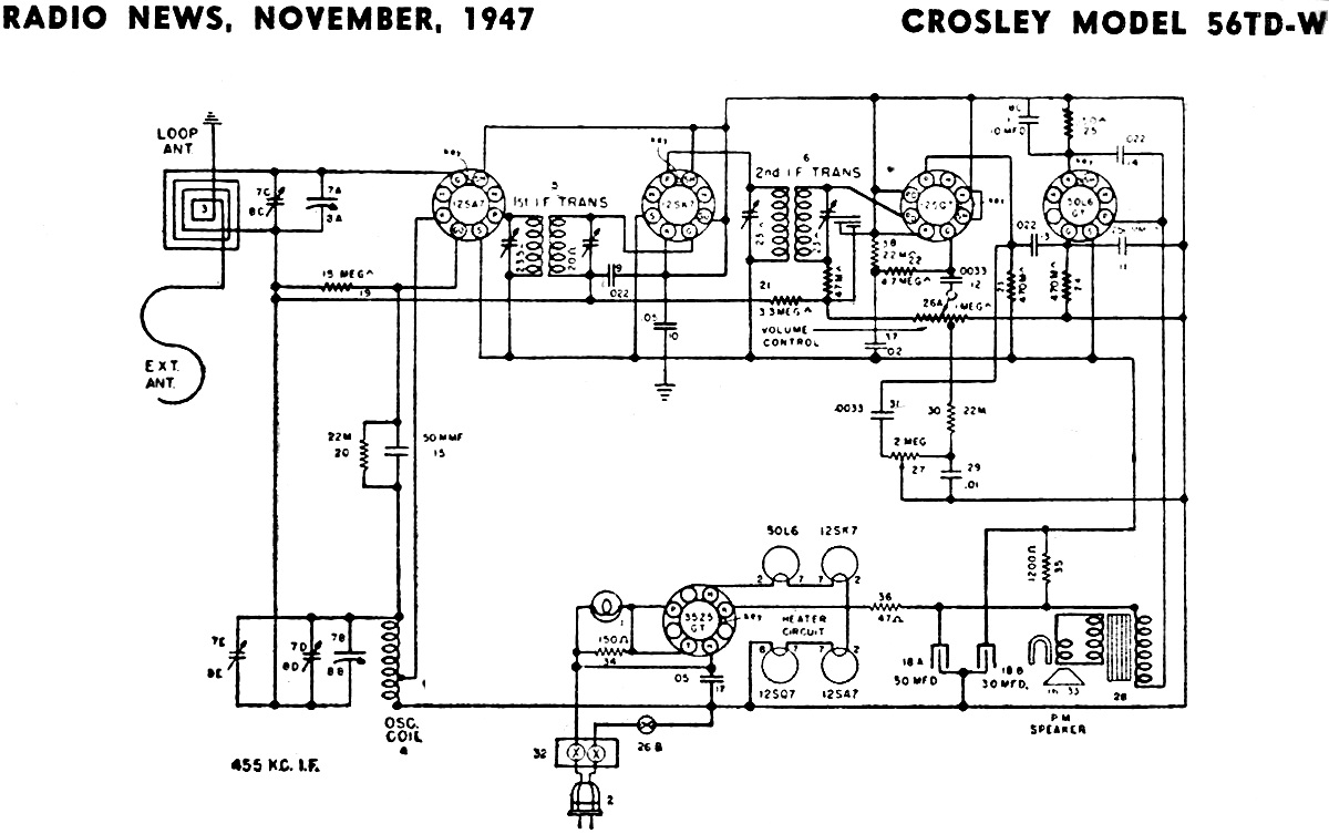 Crosley Model 56TD-W Schematic & Parts List, November 1947