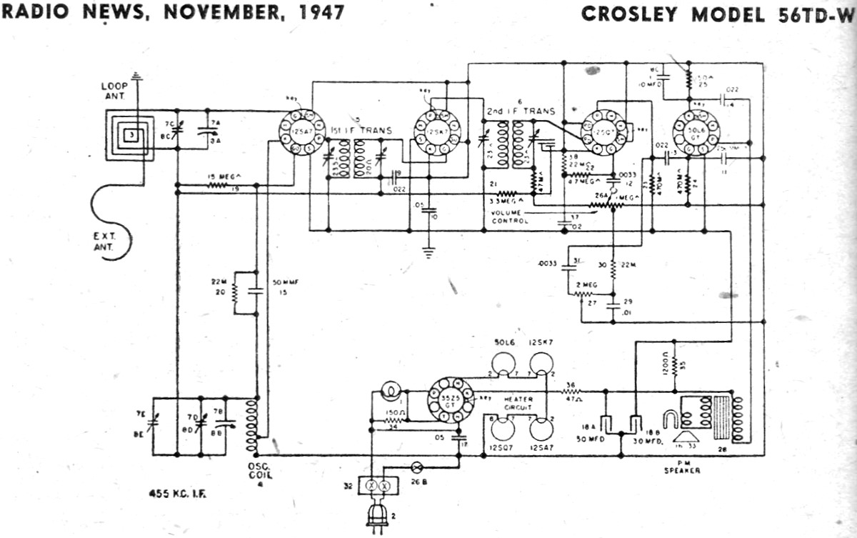 starting circuit diagram for the 1947 crosley all models  series 400 models aea tune up & wiring
