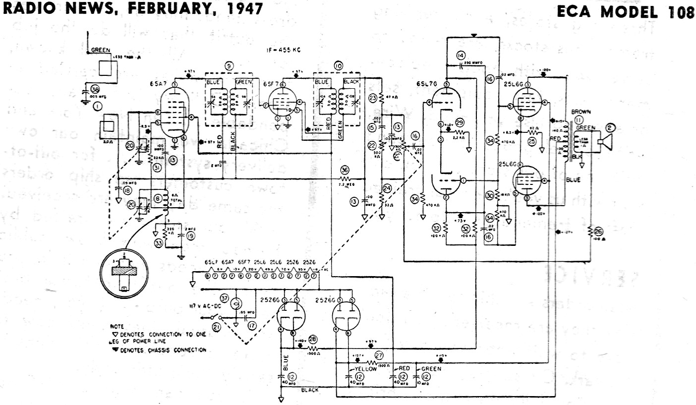 hight resolution of eca model 108 schematic parts list february 1947 radio news article