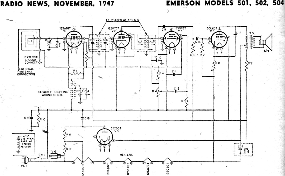 hight resolution of emerson models 501 502 504 schematic parts list november 1947 3