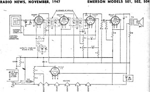 Emerson Models 501, 502, 504 Schematic & Parts List, November 1947 Radio News  RF Cafe