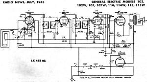 General Electric Models 102, 102W, 107, 107W, 114, 114W