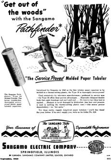 Sangamo Electric Company Ad, September 1949 Radio