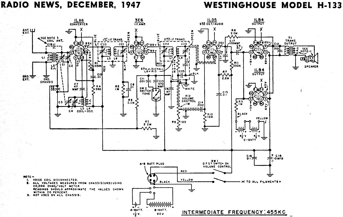 Westinghouse Model H-133 Schematic & Parts List, December