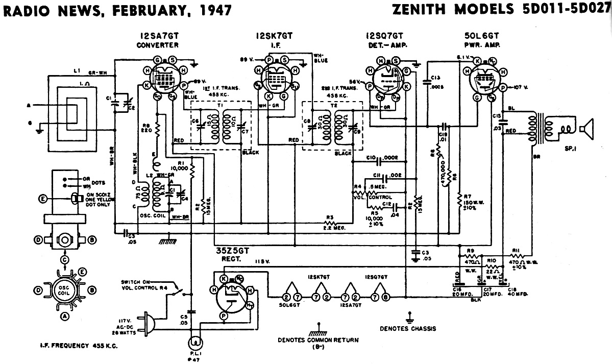 Zenith Models 5D011-5D027 Schematic & Parts List, February