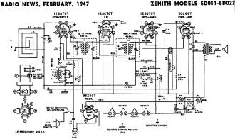 Zenith Models 5D011-5D027 Schematic & Parts List, February