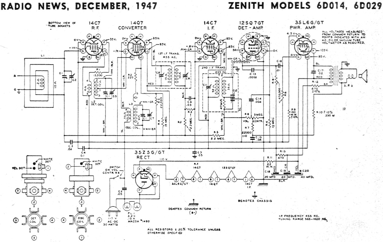 Zenith Models 6d014 6d029 Schematic Amp Parts List